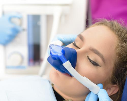 Sedation dentistry patient wearing mask